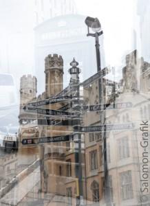 02-London-1-Wegzeichen, Wegweiser Gebäude Fotomontage
