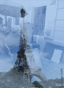 02-Paris-1-Blau Eiffwlturm und Montmartre Montage Blau