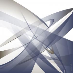 03 Volte 1 Blau Geschwungene Formen Braun und Blau auf hellem Grund, x-förmig
