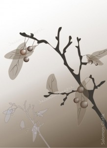 04-Herbst-Zweig, Zweig mit durchscheinenden Blättern und runden Beeren in Braun und Beige, digitale Zeichnung